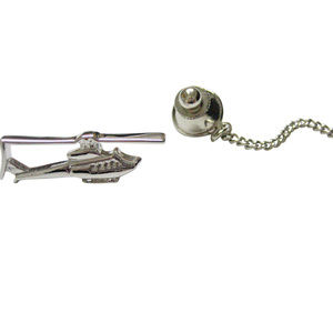 Silver Toned Smooth Helicopter Tie Tack